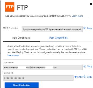 App Service FTP details2